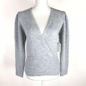 Something Navy Sweater Gray Alpaca Blend V-Neck 4989d5b08